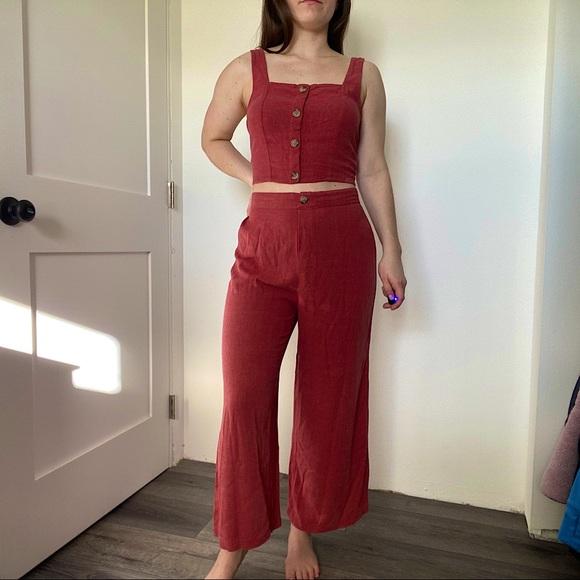 Aeropostale Linen Summer Set (crop top/pants)